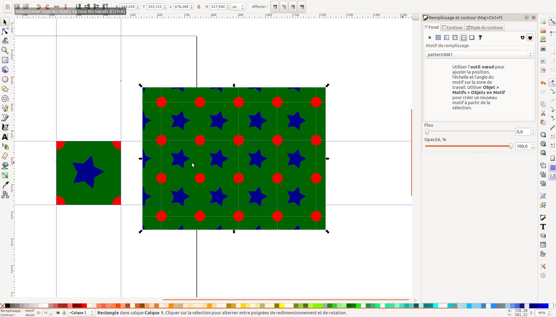 Inkscape patterns/  les Motifs dans Inkscape sans l'outil de découpe